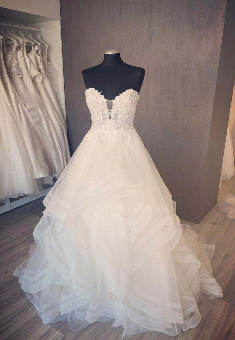 White tulle lace long prom gown wedding dress