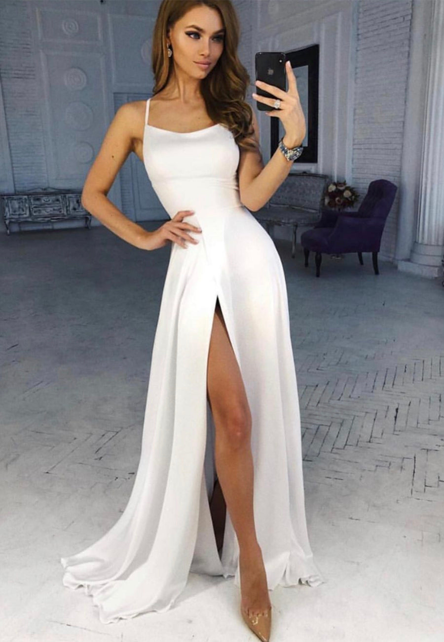 White chiffon long prom dress simple evening dress