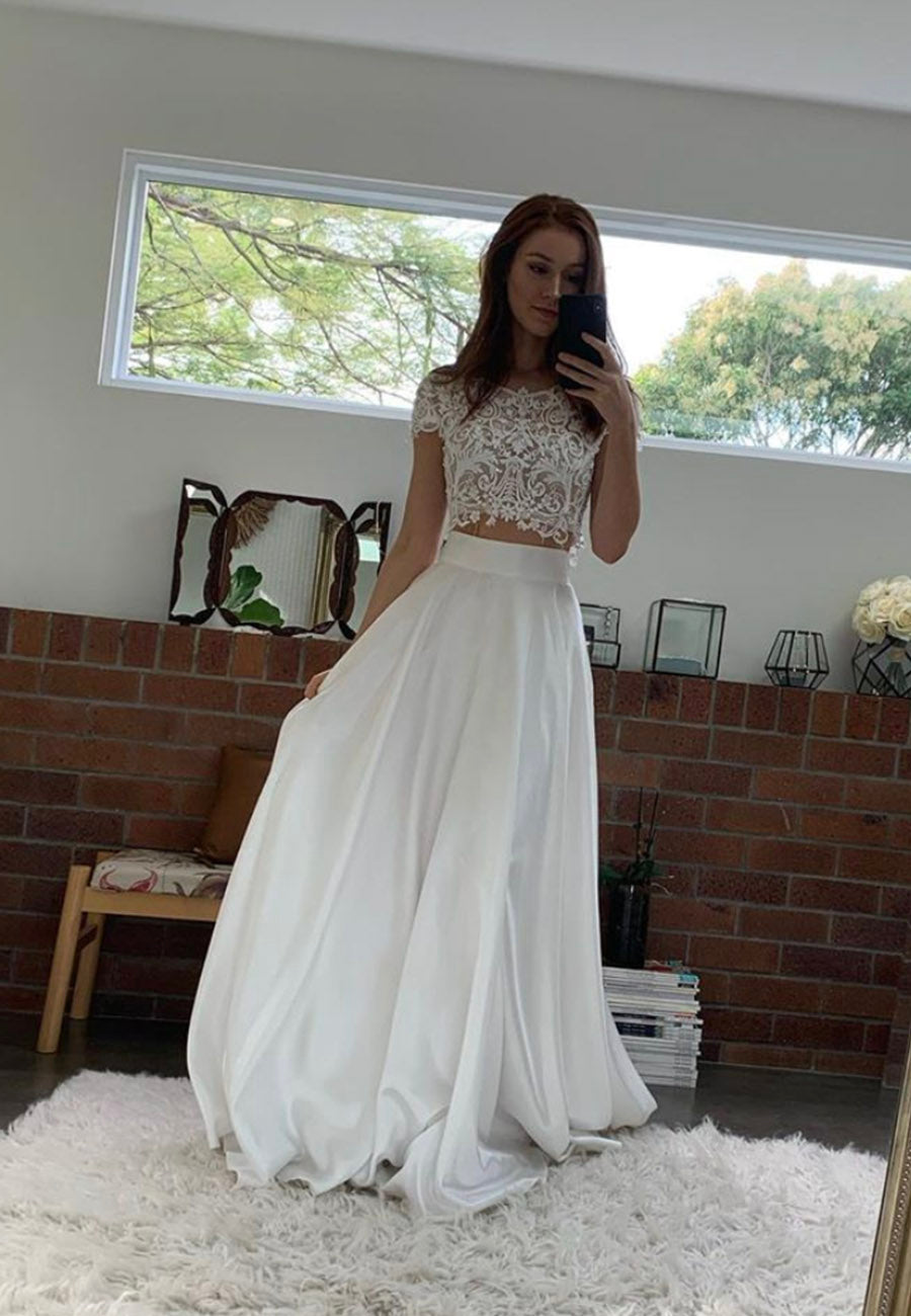 White lace long prom dress two pieces evening dress