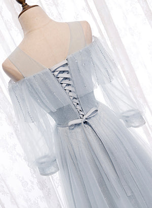 Gray tulle sequins long prom dress evening dress