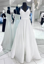 White satin long prom dress white evening dress