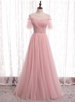 Pink tulle long prom dress pink evening dress