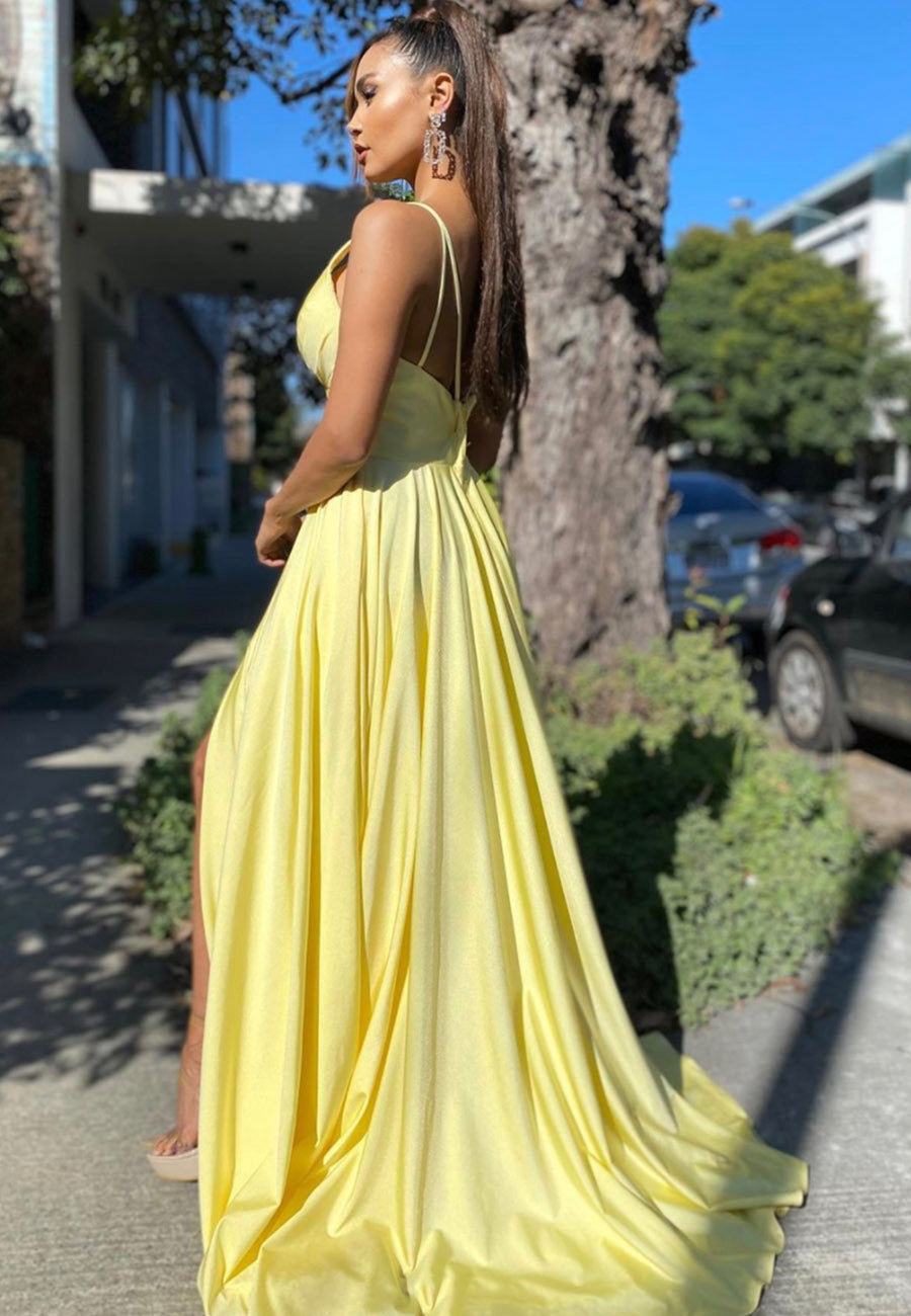 Simple yellow prom dress yellow evening dress