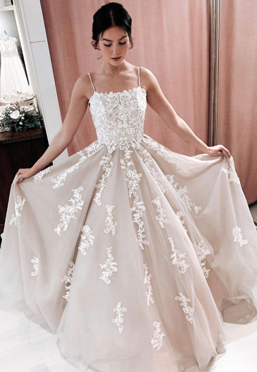 Stylish tulle lace long prom dress formal dress