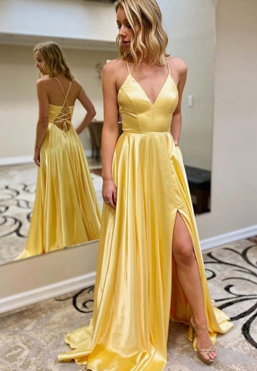 Yellow v neck satin prom dress simple evening dress