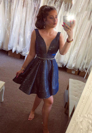 Dark blue satin short prom dress homecoming dress
