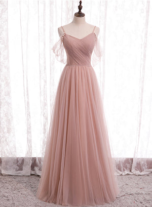 Cute tulle long A line prom dress bridesmaid dress
