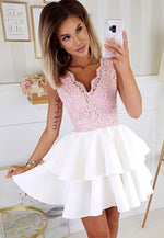 Pink lace satin short prom dress party dress