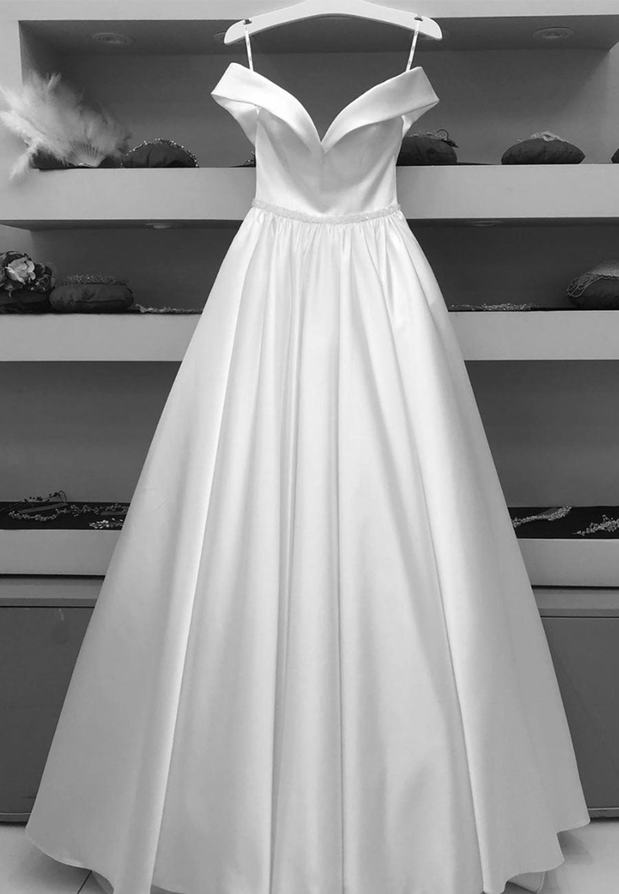 White satin long a line prom gown formal dress