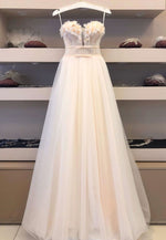 Champagne tulle long prom dress evening dress