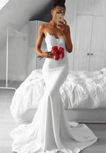 White lace long prom dress mermaid evening dress