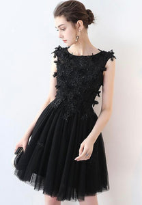 Black lace short prom dress homecoming dress