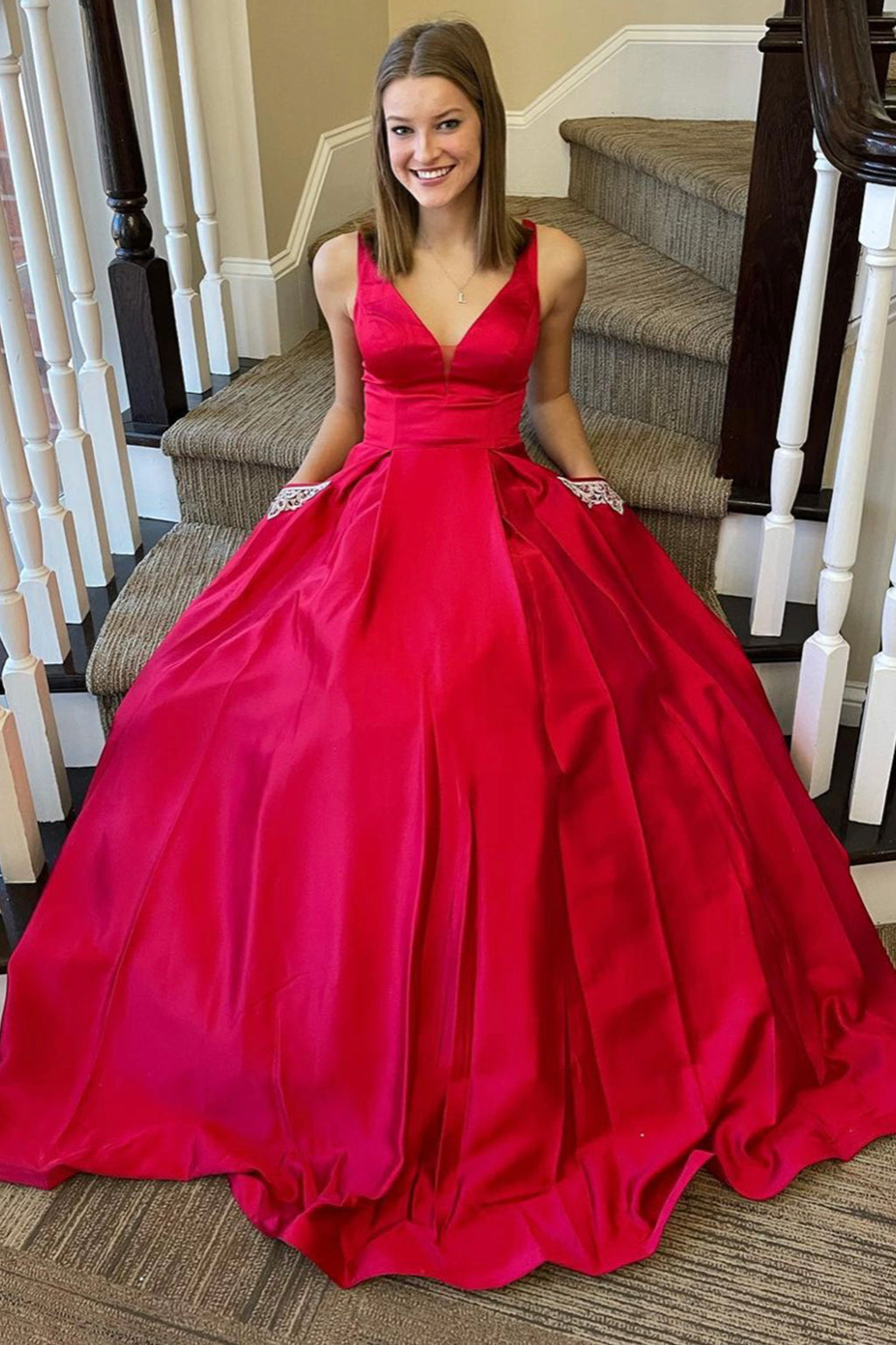 Red v neck satin long A line prom dress red evening dress