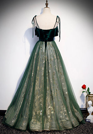 Green velvet sequins prom dress green formal dress