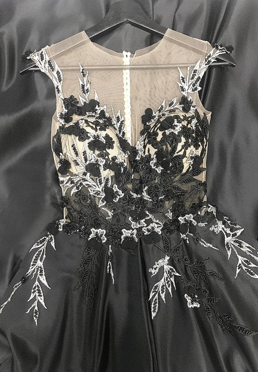 Black lace tulle long prom dress formal dress