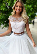 White lace pearl prom dress two pieces evening dress