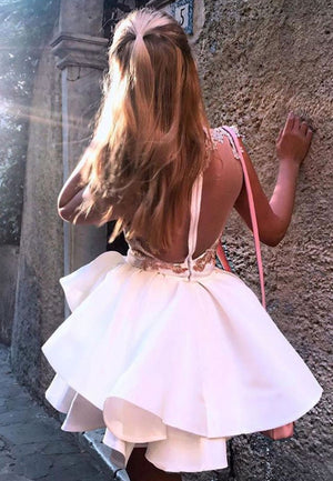 White satin lace short prom dress cocktail dress