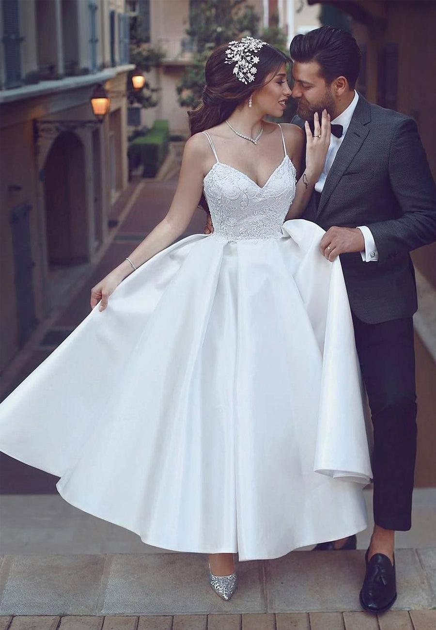 White v neck lace satin tea length prom dress