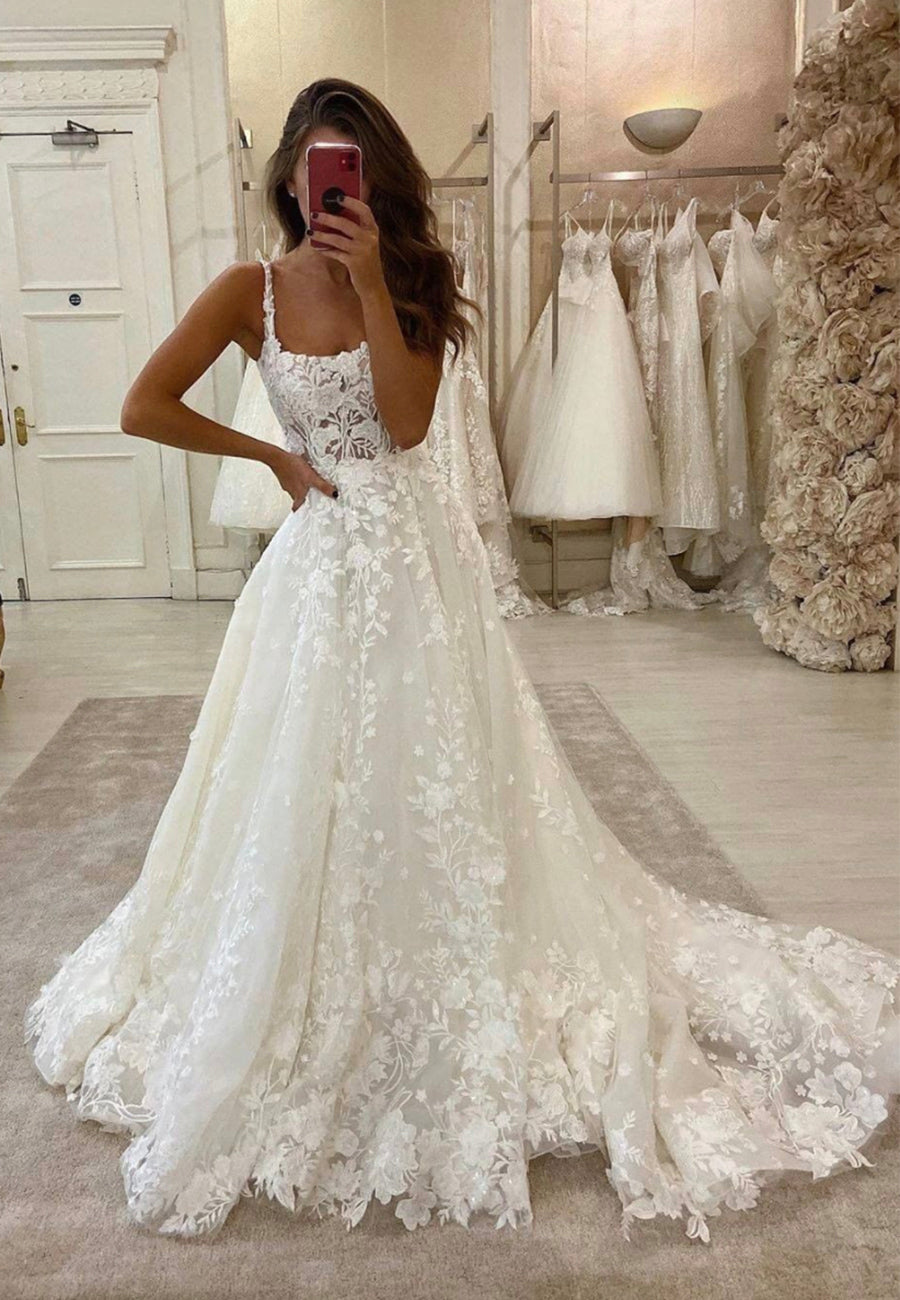 White lace long prom dress white evening dress