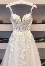 White tulle appliqué long prom gown formal dress