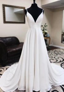 White v neck long prom dress evening dress