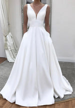 White v neck satin prom dress evening dress