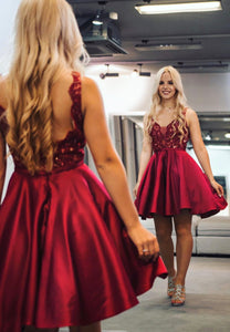 Burgundy lace satin short prom dress party dress