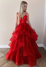 Red v neck tulle long prom gown evening dress