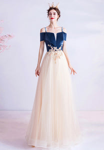 Blue and champagne prom dress A line evening dress