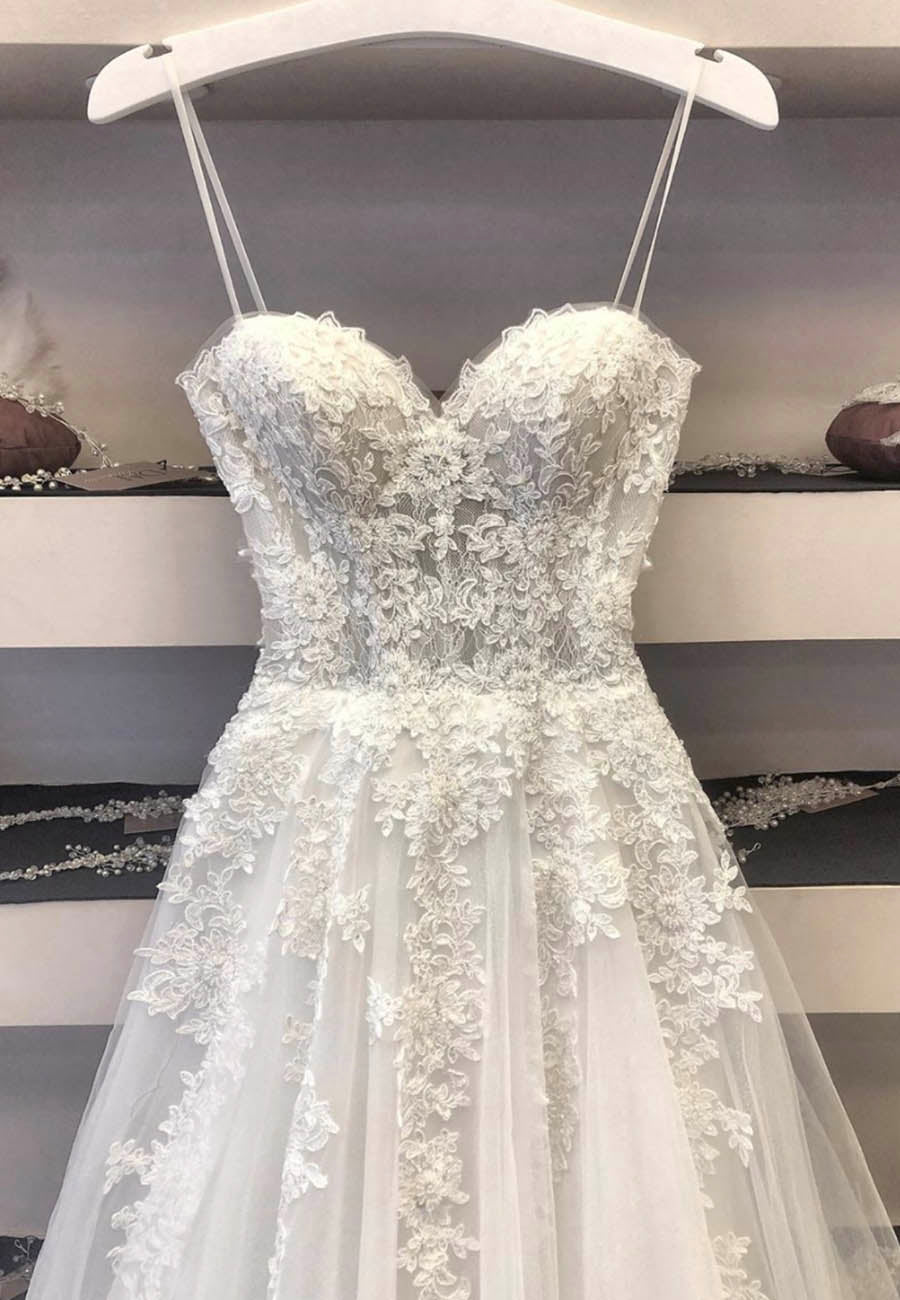 White lace tulle long prom dress formal dress
