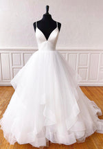White v neck tulle long prom gown formal dress