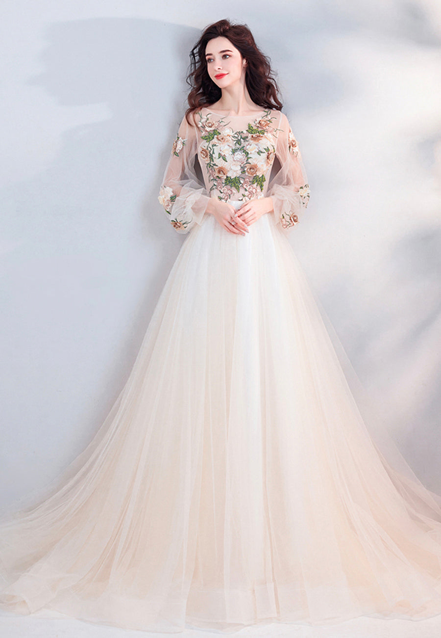 Champagne lace long prom dress A line evening dress