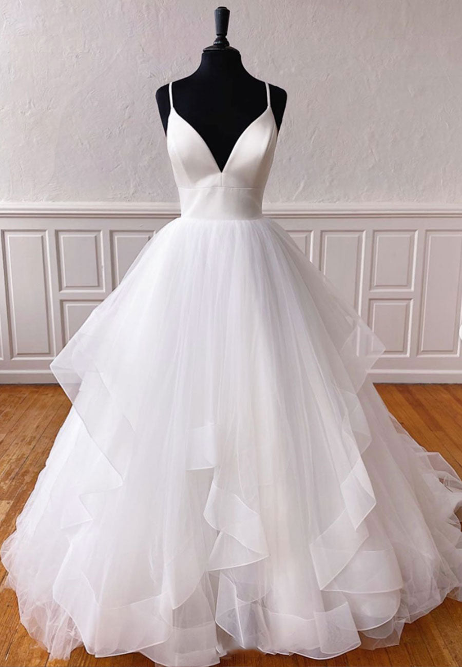White v neck tulle long prom gown wedding gown