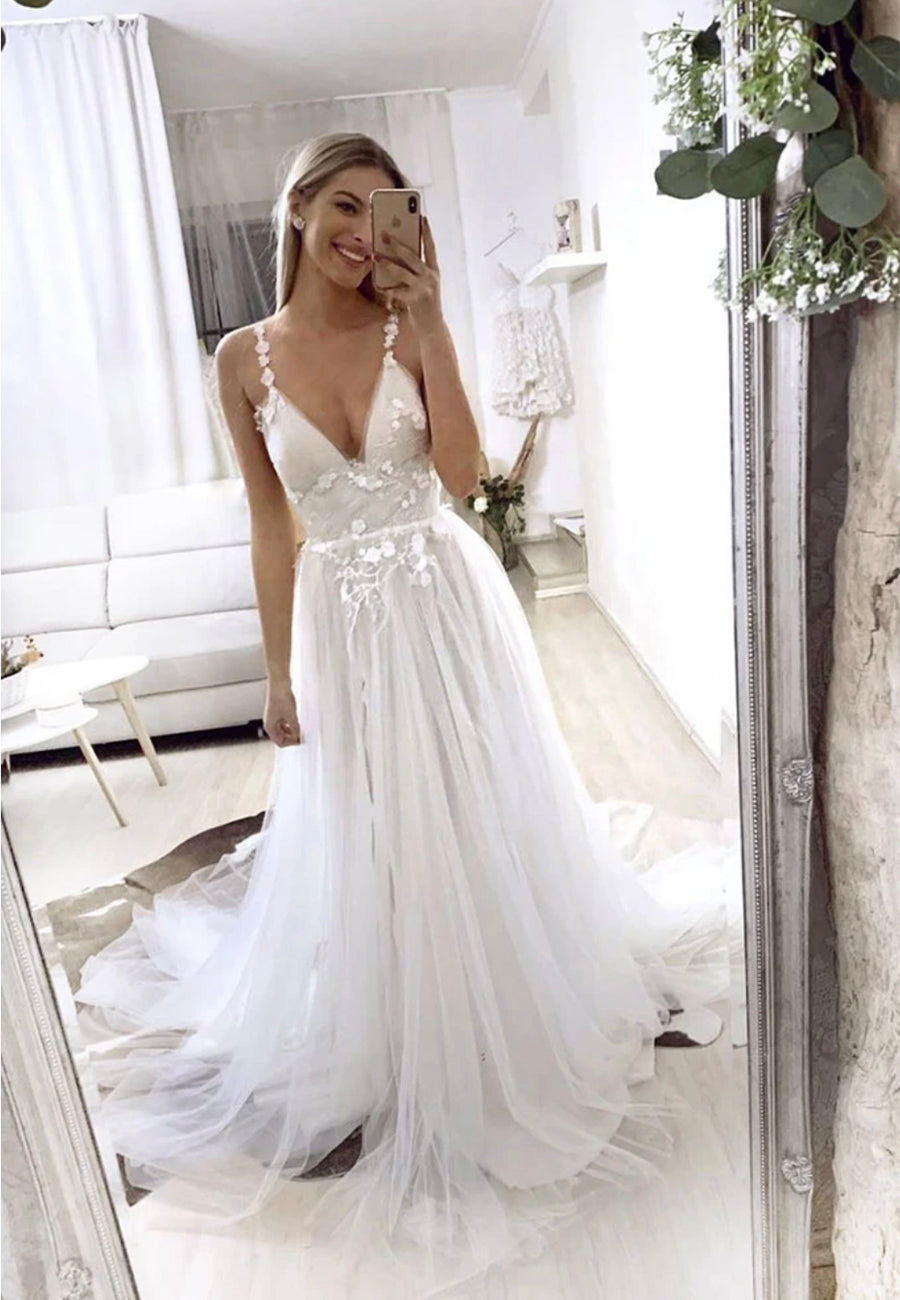 White v neck tulle lace long a line prom dress
