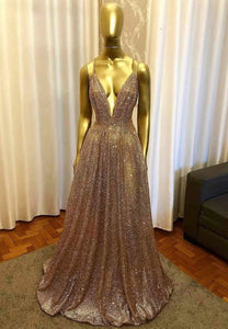 A line v neck sequins long prom dress evening dress