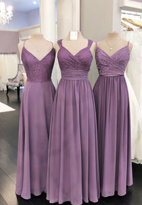 Purple chiffon lace long prom dress evening dress