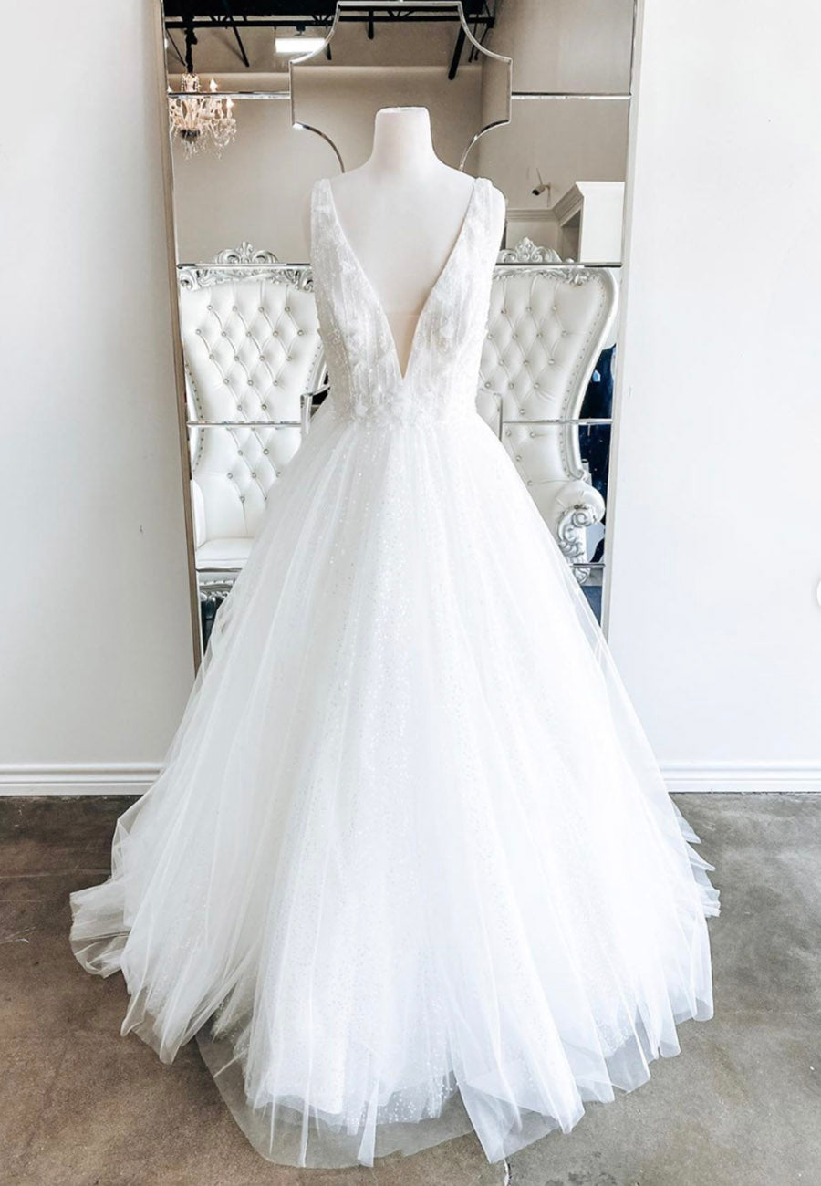 White v neck tulle sequins long ball gown dress