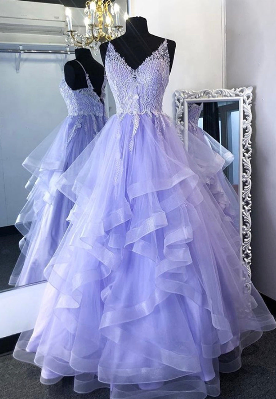 Purple v neck lace long prom gown formal dress