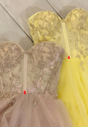 Yellow tulle beads prom dress evening dress