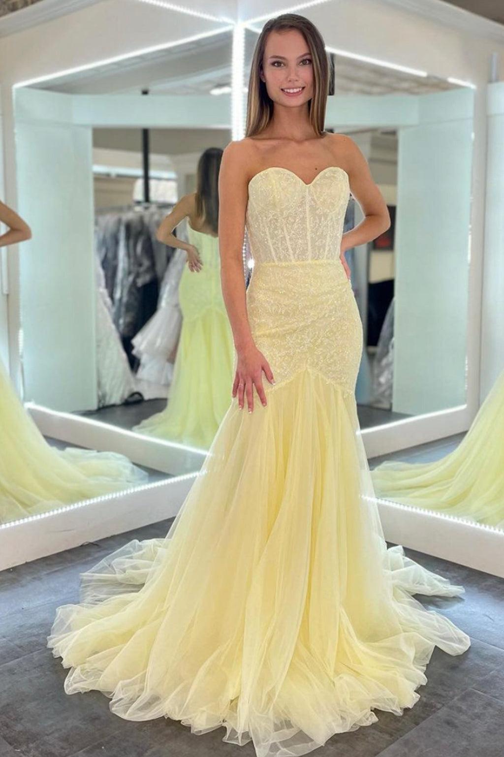 Yellow tulle sequins long prom dress yellow evening dress