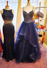 Blue long A line prom dress mermaid evening dress