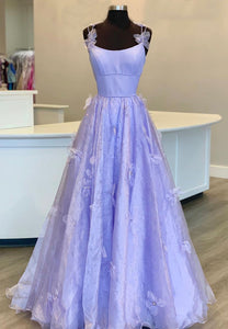 Purple tulle long A line prom dress evening dress
