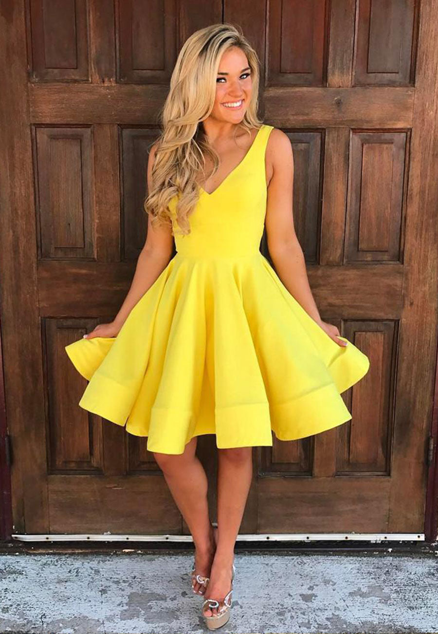 Yellow v neck satin short prom dress party dress