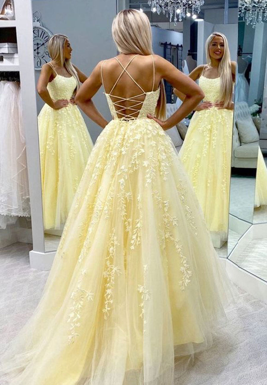 Yellow tulle lace long prom dress evening dress
