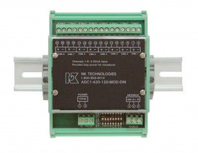 NK Tech ADC1-420-120-MOD-DIN Eight 4-20 mA Loop-Powered Inputs