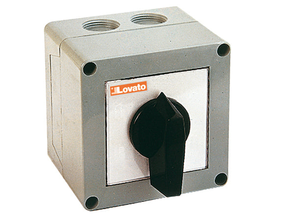 Lovato 7GN6375P P version in enclosure with rotating handle. Changeover switches