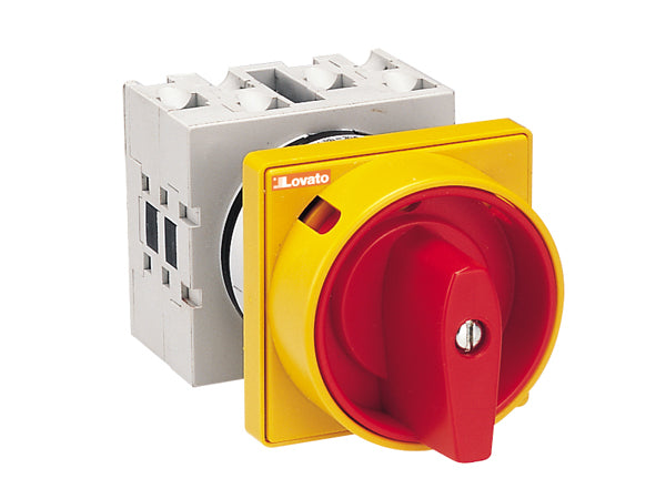 Lovato GX4010U65 U25-U65 versions front mount with red/yellow padlock system. ON/OFF switches