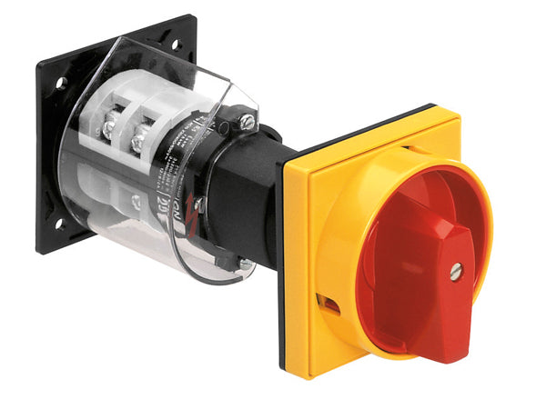 Lovato 7GN2592O88 O88-O98-O99 version, rear mount, door-coupling and padlock system, red/yellow. ON/OFF switches