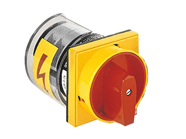 Lovato 7GN2592U25 U25-U65 version front mount with padlock system, red/yellow. ON/OFF switches