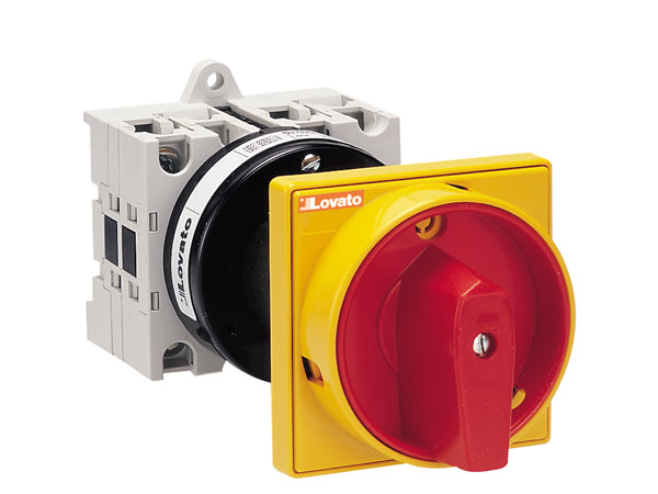 Lovato GX1610O88 O88 - 098 versions rear mount door coupling with red/yellow padlock system. ON/OFF switches